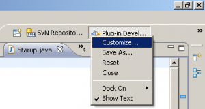 Customize a perspective using the context menu on the correpsonding icon